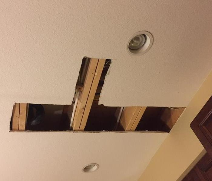 Ceiling Damage caused by a water pipe in Langley, BC Before